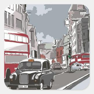 Taxi in London Square Sticker