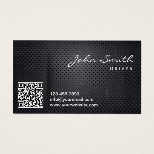 Taxi Limo Driver Cool Black Metal QR Code Business Card