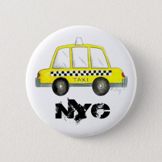 Taxi NYC Yellow New York City Checkered Cab Car 6 Cm Round Badge