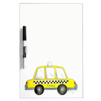 Taxi NYC Yellow New York City Checkered Cab Car Dry-Erase Whiteboard
