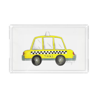 Taxi NYC Yellow New York City Checkered Cab Gift Acrylic Tray