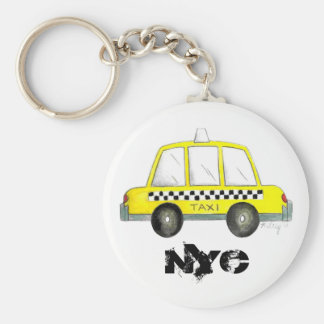 Taxi NYC Yellow New York City Checkered Cab Gift Basic Round Button Key Ring