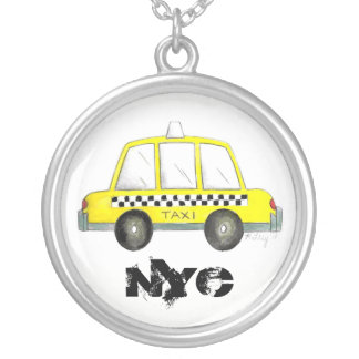 Taxi NYC Yellow New York City Checkered Cab Gift Silver Plated Necklace