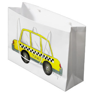 Taxi NYC Yellow New York City Chequered Cab Car Large Gift Bag