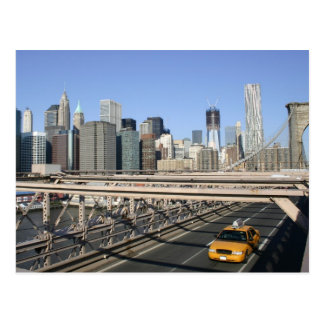 Taxi on Brooklyn Bridge, New York Postcard