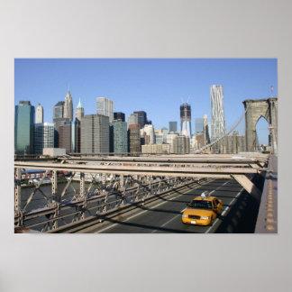 Taxi on Brooklyn Bridge, New York Poster