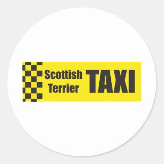 Taxi Scottish Terrier Classic Round Sticker