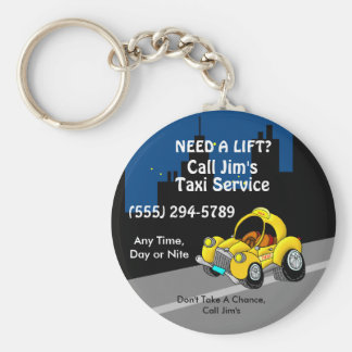 Taxi Service Basic Round Button Key Ring