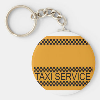 Taxi service with space for text basic round button key ring