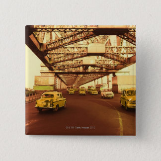 Taxi's on a Bridge 15 Cm Square Badge