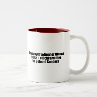 Taxpayer voting for Obama is like a chicken Two-Tone Coffee Mug