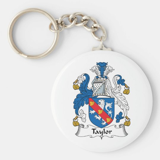 Taylor Family Crest Basic Round Button Key Ring