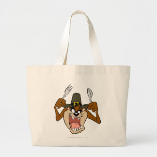 TAZ™ Pilgrim Thanksgiving in Color Large Tote Bag