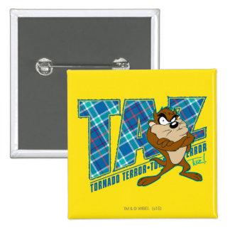 TAZ™ Tornado Terror Plaid 15 Cm Square Badge