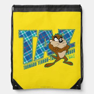 TAZ™ Tornado Terror Plaid Drawstring Bag