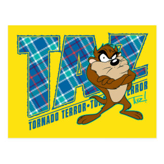 TAZ™ Tornado Terror Plaid Postcard