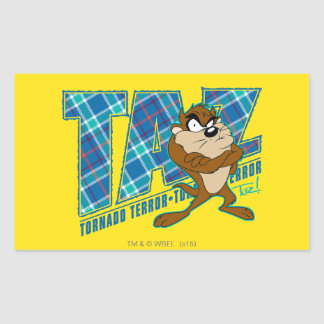 TAZ™ Tornado Terror Plaid Rectangular Sticker