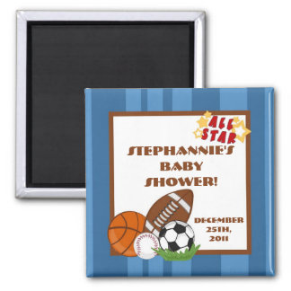 """{TBA} 2""""x2"""" All Star Blue Party Favor Magnet"""