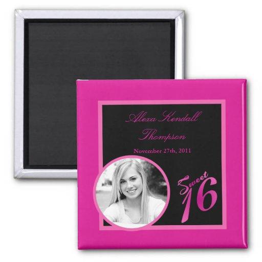 """{TBA} 2""""x2"""" Sweet 16 Hot Pink  Announcement Magnet Fridge Magnet"""
