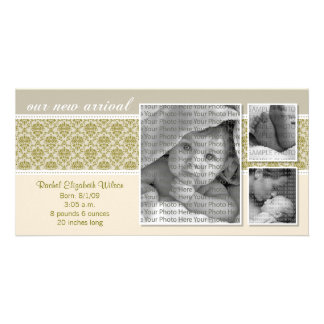{TBA} 8x4 Taupe Baroque 3-Photo Birth Announcement Customised Photo Card