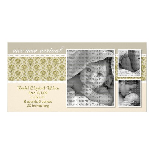 {TBA} 8x4 Taupe Baroque 3-Photo Birth Announcement Personalized Photo Card
