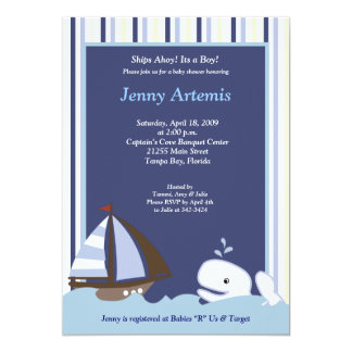 {TBA} Ahoy Mate Sailboat Boat Nautical Baby Shower 13 Cm X 18 Cm Invitation Card
