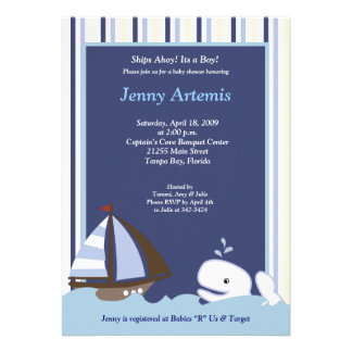 TBA Ahoy Mate Sailboat Boat Nautical Baby Shower Custom Announcements