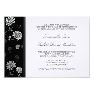 TBA Black and White Floral Wedding Invitations