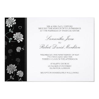 "TBA: Black and White Floral Wedding Invitations 5"" X 7"" Invitation Card"