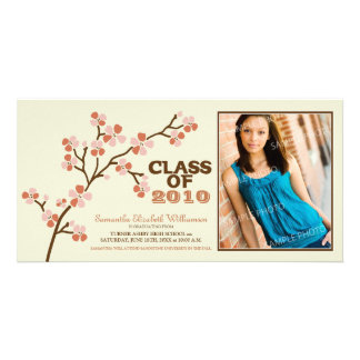 TBA Cherry Blossom Graduation Announcement (coral) Photo Card Template