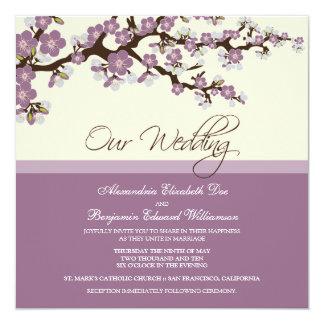 """{TBA} Cherry Blossom Wedding Invitation (lilac) 5.25"""" Square Invitation Card"""