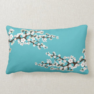 {TBA} Cherry Blossoms Sakura Throw Pillow (aqua)
