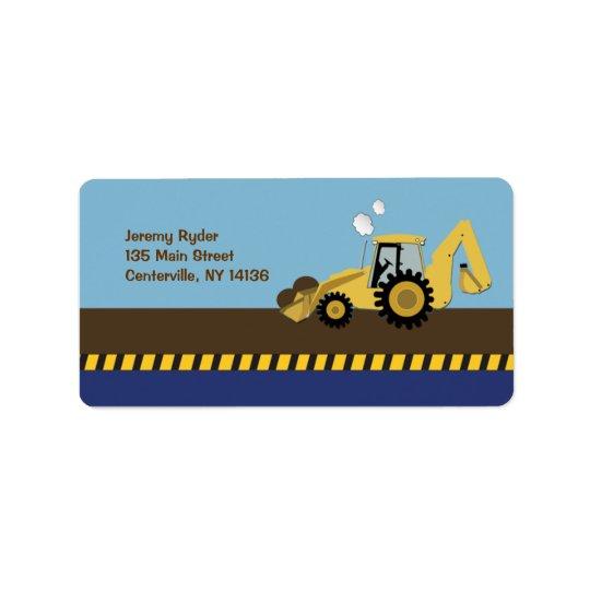 {TBA} Construction Zone Backhoe Return Address Label