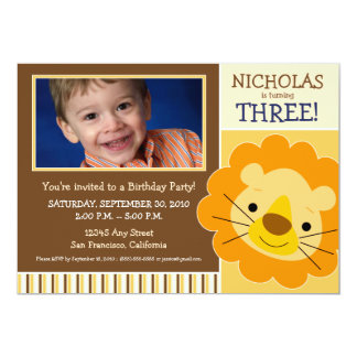 {TBA} Darling Lion Boys Birthday Invite (yellow)