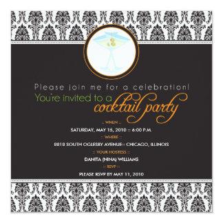 "{TBA} Elegant Damask Cocktail Party Invitation 5.25"" Square Invitation Card"