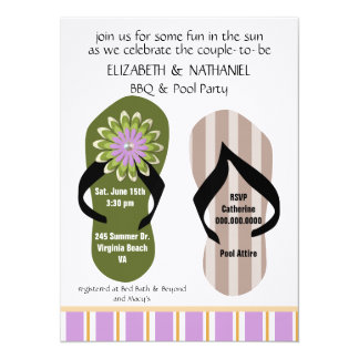 (TBA)Flippin Out Couples Wedding Shower Pool Party 14 Cm X 19 Cm Invitation Card