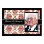 {TBA} Golden Years Damask Birthday Invite (red) 13 Cm X 18 Cm Invitation Card