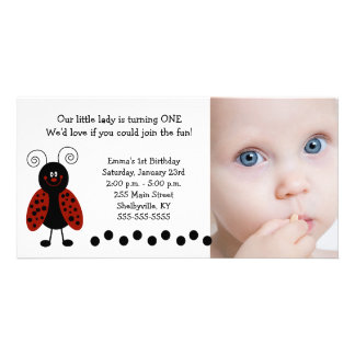{TBA} Little Ladybug Photo Birthday / Birth Card