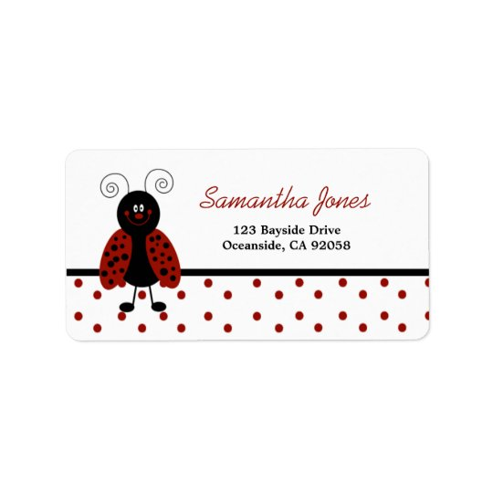 {TBA} LoveBug Black Dot Address Label