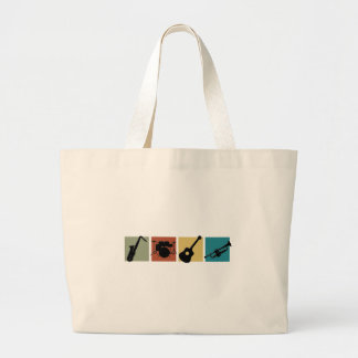 TBA  Musical Instrument collage Large Tote Bag