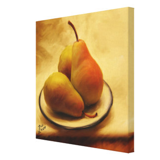 {TBA} Pears on a Plate Stretched Canvas Print
