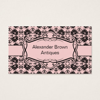 TBA - Pink and Black Damask Business Card