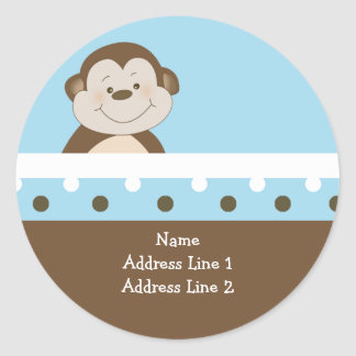{TBA} Round Address Labels Blue Bambino Monkey