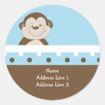 {TBA} Round Address Labels Blue Bambino Monkey Round Stickers