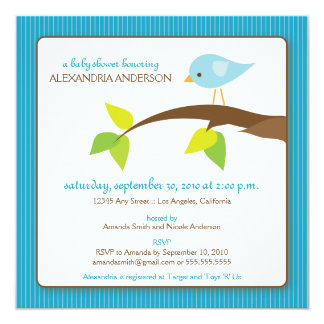 {TBA} Tweet Tweet Baby Shower Invitation (aqua)