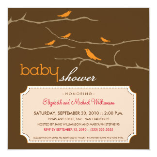 {TBA} Tweet! Tweet! Baby Shower Invite (orange)