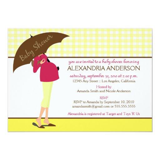 {TBA} Umbrella Mummy Baby Shower Invite (yellow) 13 Cm X 18 Cm Invitation Card
