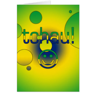Tchau! Brazil Flag Colors Pop Art Greeting Cards