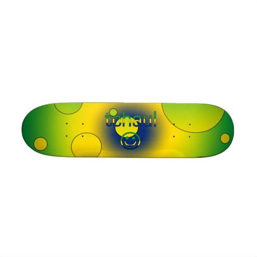 Tchau! Brazil Flag Colors Pop Art Skate Board Deck