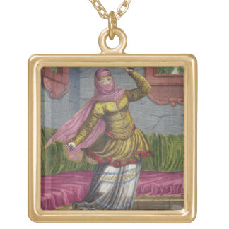 Tchinguis, or Turkish dancer, 18th century (engrav Gold Plated Necklace